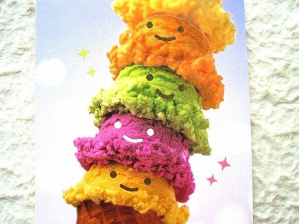 Cute Japanese Postcard - Smiling Ice Cream