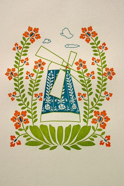 wildflower windmill print (limited edition letterpress)