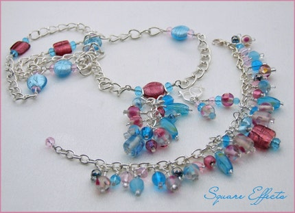 EBTW-on SALE-Pink and Blue beaded necklace, bracelet, earrings set