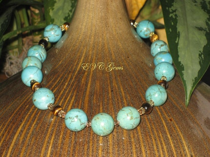 Etsy :: evcgems :: SALE Green Chalk Turquoise and Tiger Eye Ethnic Glamour Necklace by EVC Gems