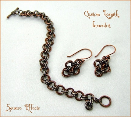 SALE - EBTW - Mad About Metals - Custom length copper and gunmetal bracelet with earrings-design one