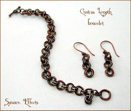 SALE - EBTW - Mad About Metals - Custom length copper and gunmetal bracelet with earrings-design two