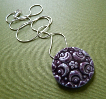 Victorian Purple Moons Porcelain Necklace