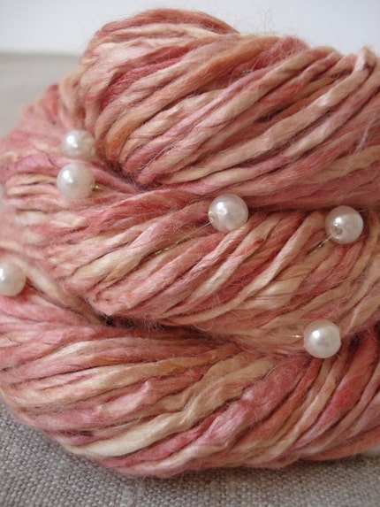Pink pearls, vegan soy silk handspun yarn