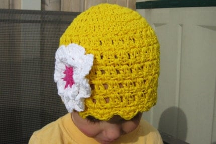 2T - 4T Lemon Drop Yellow Flapper Beanie with Double White Flower and <span class=