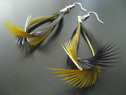 Etsy :: ByMeFromNature :: Birds of a Feather.... Goose Feather Hoop Earrings