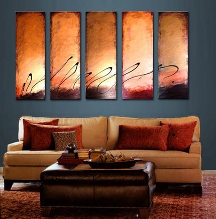 Etsy :: PaintingsbyWildheart :: 5 panel chocolate bronze latte modern contemporary abstract sunset art paintings from etsy.com