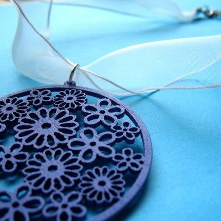 Clearance - Lilac Garden - Wood Filigree and White Ribbon Necklace