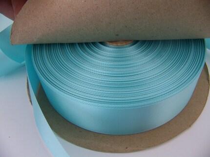 3 yards x 1 1/2 inch wide Aqua Blue Satin Ribbon