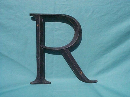 R - Antique Solid Cast Brass Store Sign Letter - Huge