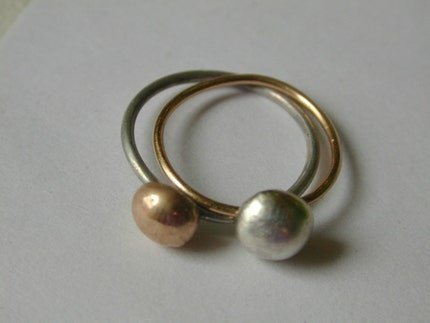 Gold and Silver Cherry Ring