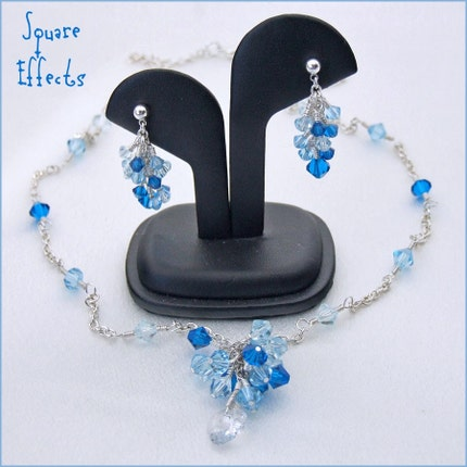 EBTW-on SALE-Stunning Swarovski beaded necklace and earrings-elegant cascading crystals in blue