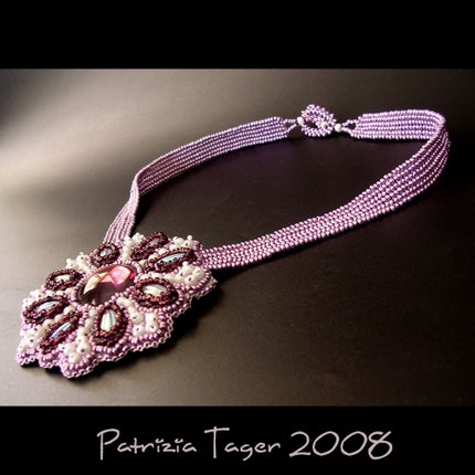 Purple Flower Necklace - OOAK