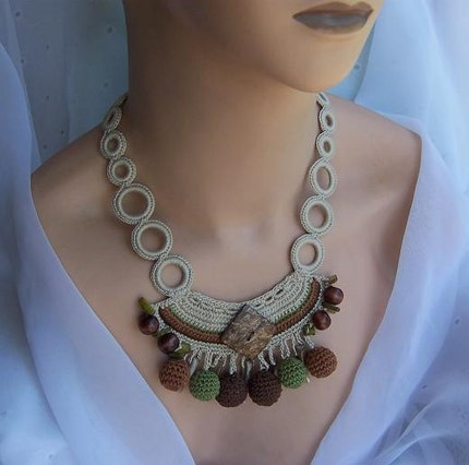 Wooden Crochet Necklace, earth tones