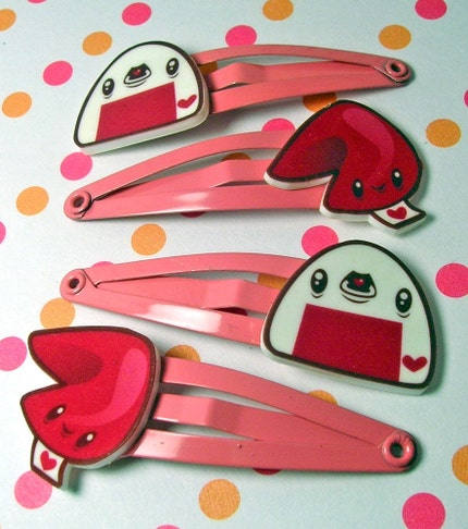 Pink Fortune Cookie and Onigiri Hair Clips