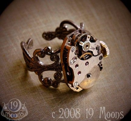 steampunk insect ring by 19moons :  steampunk insects recycled vintage