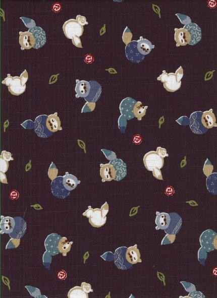 Pretty Tanuki Raccons on Navy Blue- Japanese Fabric Fat Quarter(Last piece)
