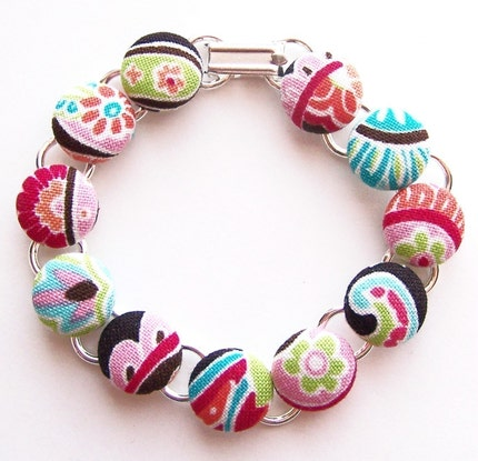Watermelon Patti Paisley Button Bracelet
