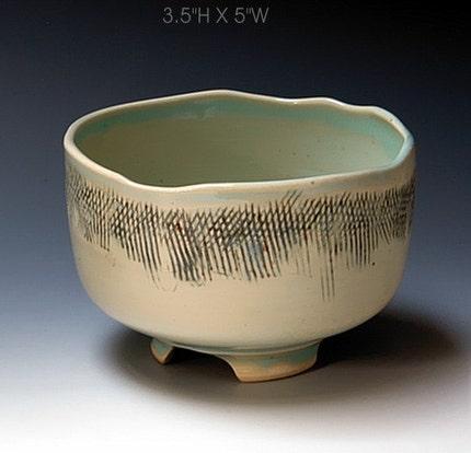 Porcelain tea coffee latte bowl cup white inlaid scrafitto blue green R Mello TB160