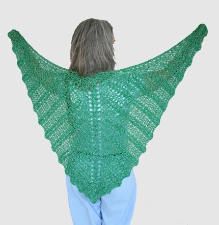 Crocheted Lace Butterfly Shawl, Green shimmery Silk
