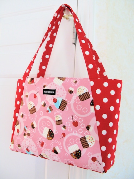 Cherry on top cupcake handbag/ tote with Michael miller fabrics.
