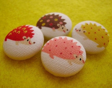 Hedgehog buttons by creamrose - $5.95