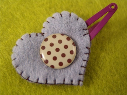 Small snap on cabochon barrette for babies or girls- HEART U