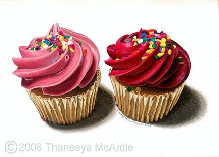 Two Pink Cupcakes - Original Painting