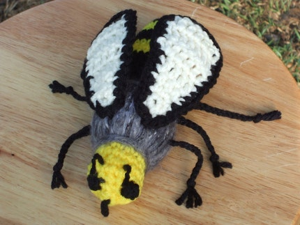 handmade crochet honey bees art