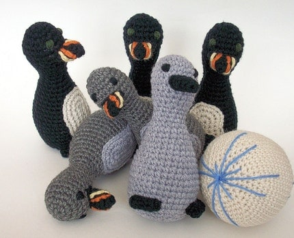 Chilly Penguin Bowling Set with Icy Bowling Ball Amigurumi