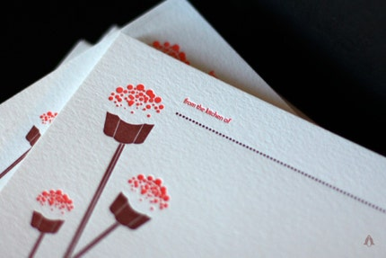 Cupcake Pop Recipe Cards, Letterpress set of 15