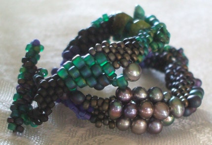 Labor Day Blues Freeform Peyote Stitch Beadwoven Bracelet