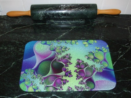 Blue Green Serenity - Tempered Glass Cutting Board