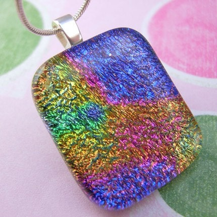 Etsy :: liskidder :: Colorburst Dichroic Fused Glass Pendant from etsy.com