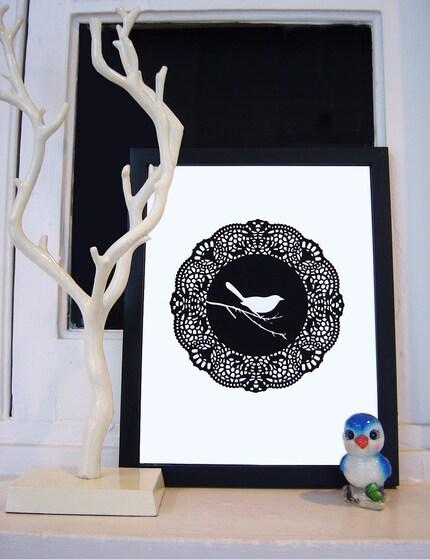 doily bird framed print