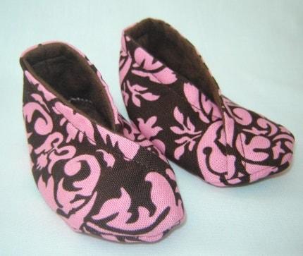 Kimono Baby Slippers - Pink Brown Damask