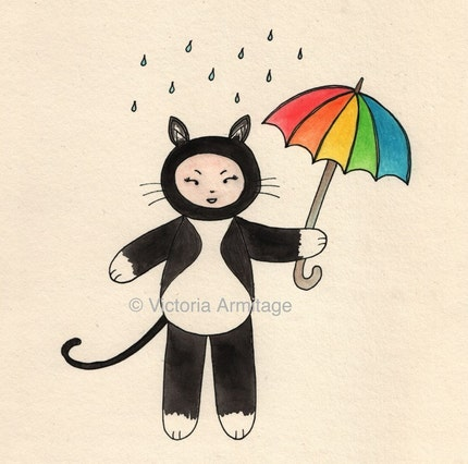 Hand-coloured kitten in the rain ACEO mini art card