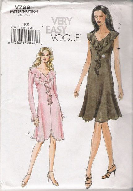 Misses' Dresses Sewing Pattern Size 14-20 Vogue 7991 UNCUT by Artdoodads on Etsy from etsy.com
