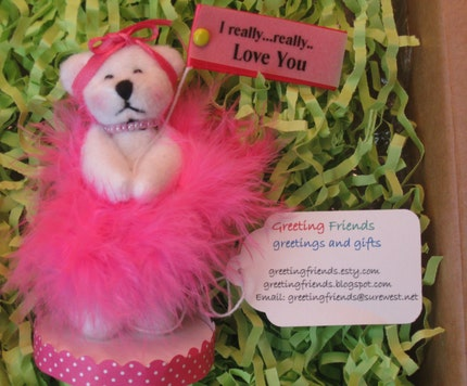 Etsy :: GreetingFriends :: girly Teddy bear gifts-Every girl needs her Pink- a sweet Love You Gift from etsy.com