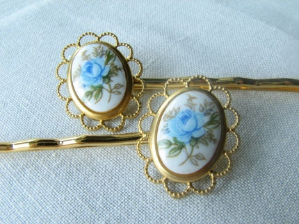 Etsy thatwinsomegirl Blue Rose Cameo hairpins flower blue goldplated