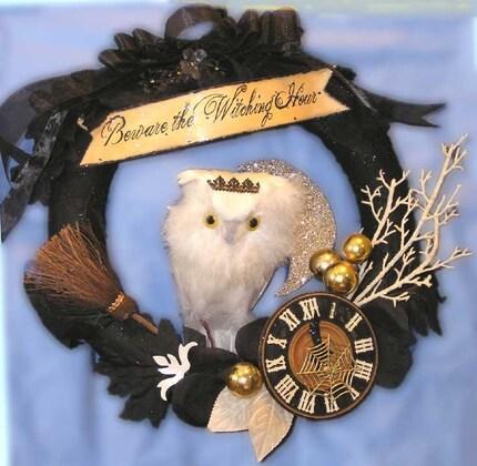 Halloween Folk Art WITCHING HOUR Wreath Decoration