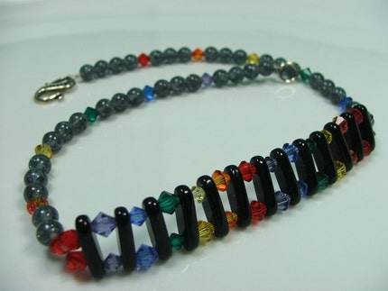 Rainbow crystal choker