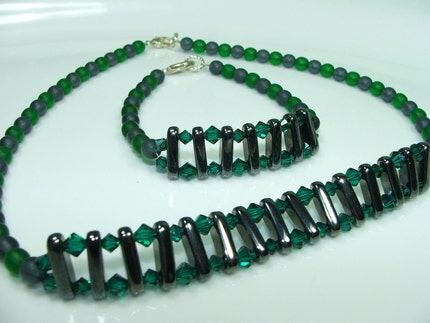 Emerald river necklace bracelet set