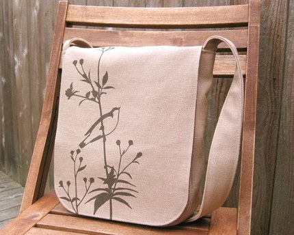 Eco-friendly Hemp Messenger Bag with Songbird (Sand/Beige)
