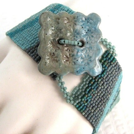 Early Morning Tidal Pool Peyote Cuff Bracelet (2271)