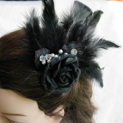 Etsy :: OriginalsByLynnette :: Gothic Rose - Black Rose and Feather Fascinator-Hair Piece from etsy.com