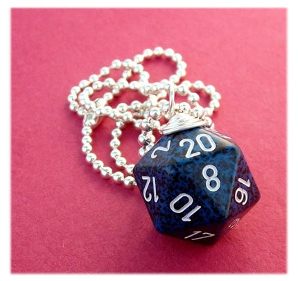 geekery, dungeons dragons, pawandclawdesigns, blue, black, d20 d 20, dice die, necklace pendant, jewelry jewellry, dnd d n d, role playing game, free shipping, international ship, silver plated