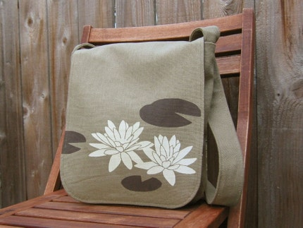 Eco-friendly Hemp Messenger Bag with Water Lily (Sage)