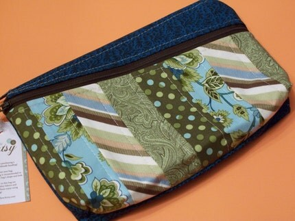 green and blue patchwork cosmetic bag handmade
