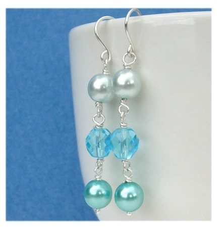 weddings, accessories, jewelry, earrings, beaded, wire wrapped, glass, bead, blue, czech fire polish, pearl, pawandclawdesigns, bride, prom